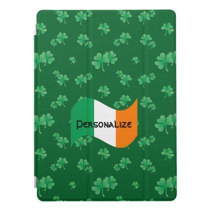 Irish Flag with Shamrock Pattern iPad Pro Cover - st. patricks day gifts irish ireland green fun party diy custom holiday