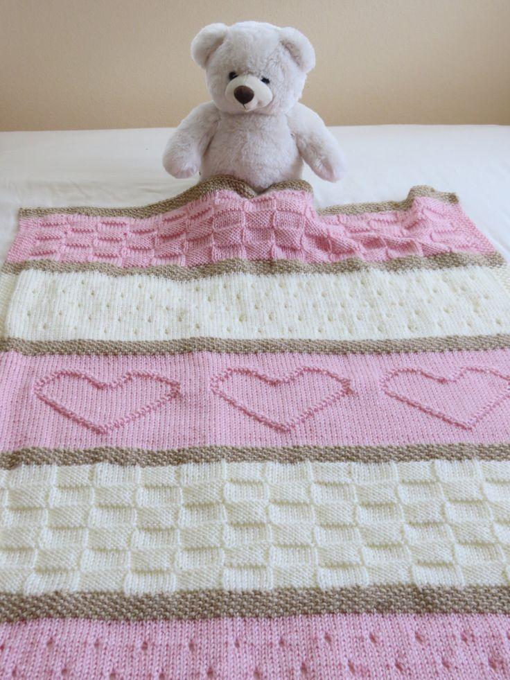 Baby Blanket Pattern, Knit Baby Blanket Pattern, Heart Baby Blanket Pattern, Crib Blanket - pinned by pin4etsy.com