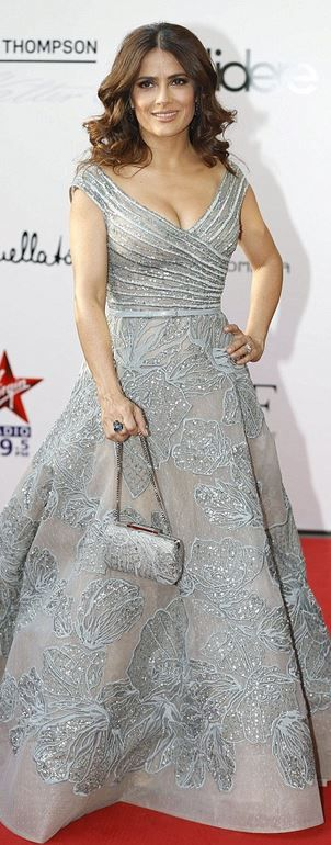 Who made Salma Hayek's silver off the shoulder gown? (OutfitID)
