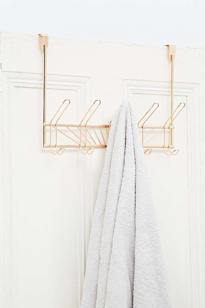 Over the Door 5-Hook Towel Rack in Rose Gold - Urban Outfitters