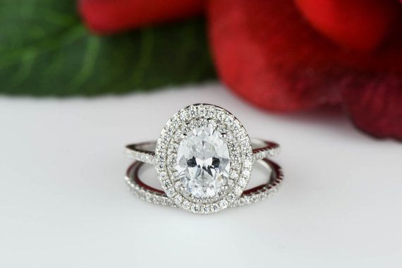1.75 ctw Oval Double Halo Ring Engagement Ring by TigerGemstones