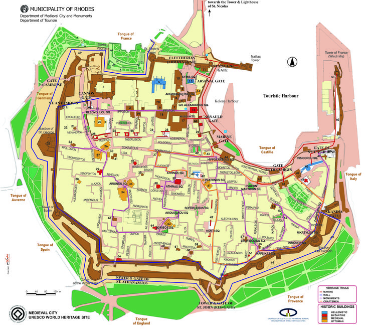 Map of Medieval Rhodes Town. You can see all the gates, the famous IPPOTON street the always crowded SOKRATOUS street  but don t worry! Everything you need Nina and everyone in Camelot hotel can help you to find it. Just ask ;) Camelot Hotel is situated between the Marine gate and the gate of the Virgin (Themistokleous street)