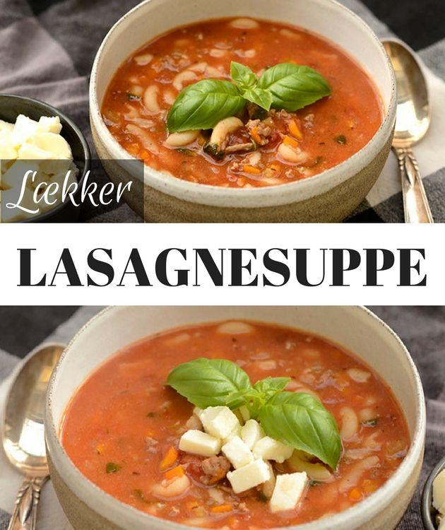 Utroligt lækker suppe med hakket oksekød, pasta og tomat samt parmesan, så den smager nøjagtig som en god hjemmelavet lasagne.