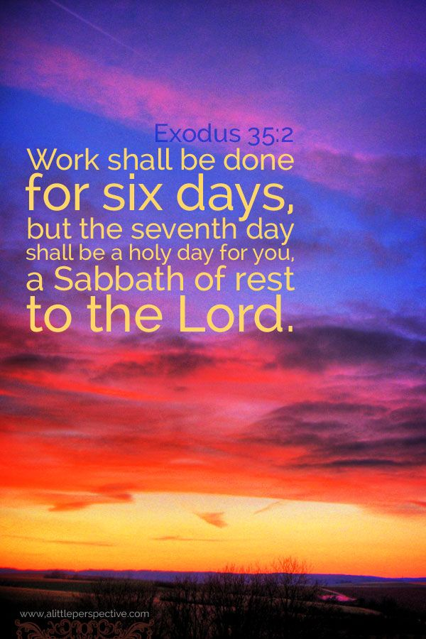 Work shall be done for six days, but the seventh day shall be a holy day to you, a Sabbath of rest to the Lord. Exo 35:2 <3