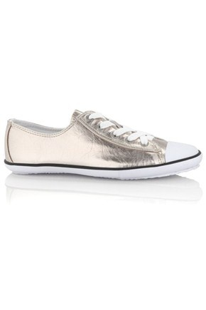 French Connection metallic plimsoles are ideal for weekend wear. Nadalia  Trainers have a lace-up front, contrast trim, rubber toe and sole.