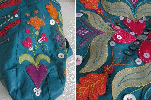 Beautiful bag embroidered with Swedish folk applikation style