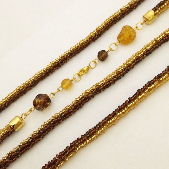 Long amber beaded lariat necklace. Long knitted от Amikkaru