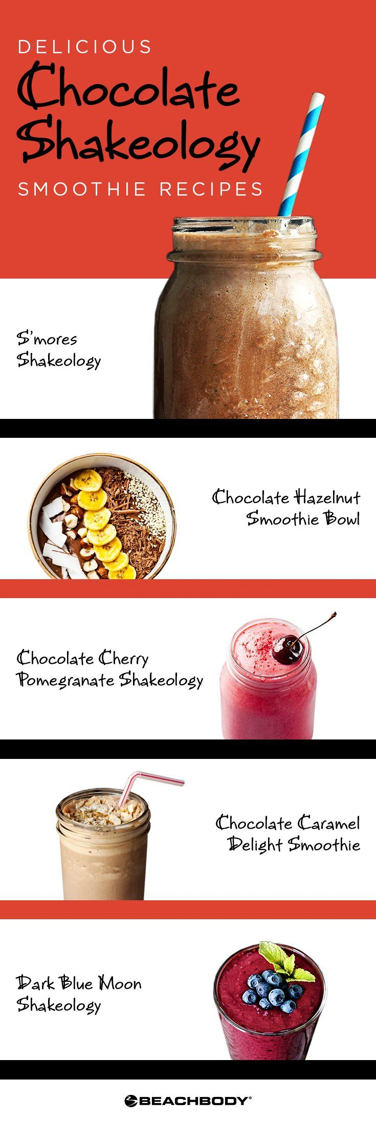 Love chocolate, but also want to stay healthy and reach your nutrition goals? Check out these 10 delicious chocolate Shakeology recipes! shakeology recipe // best smoothie recipes // 21 day fix recipes // Shakeology // Vegan Shakeology recipes // Beachbody // Beachbody Blog // #shakeology #21dayfix #21dayfixrecipe #smoothierecipes #smoothies