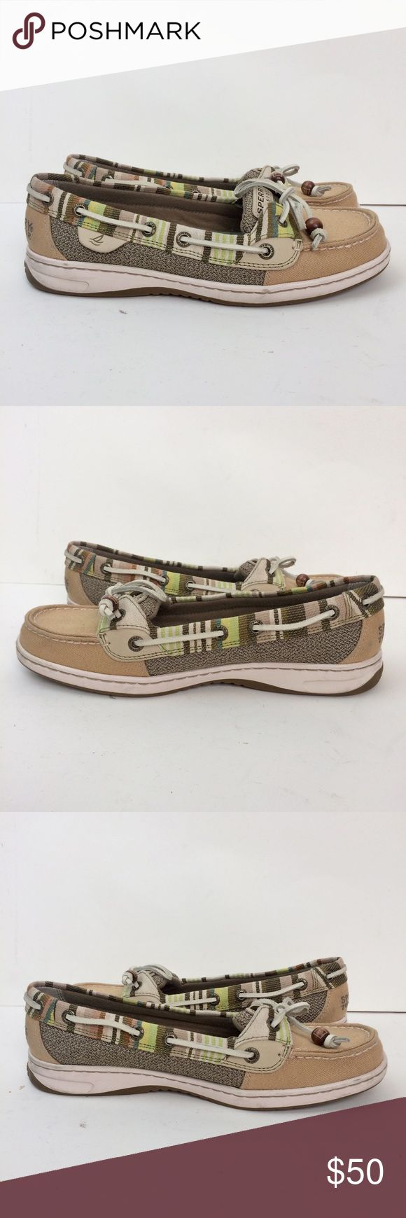 Sperry Top-Sider Angelfish Boat Shoe Size 7.5M SPERRY TOP-SIDER ANGELFISH BOAT SHOE  WOMEN'S SIZE  COLOR: TAN/GRAY/GREEN/WHITE  MINIMAL WEAR  DETAILS:  Stain and water resistant fabric upper in a boat shoe style with a round toe Moc toe with raised top stitching Single lace up detail 360 degree lacing system Breathable fabric panels Slip on entry Smooth lining, cushioning insole with molded EVA cushion Non-marking outsole with Adaptive Wave-Siping™ Sperry Top-Sider Shoes Flats & Loafers