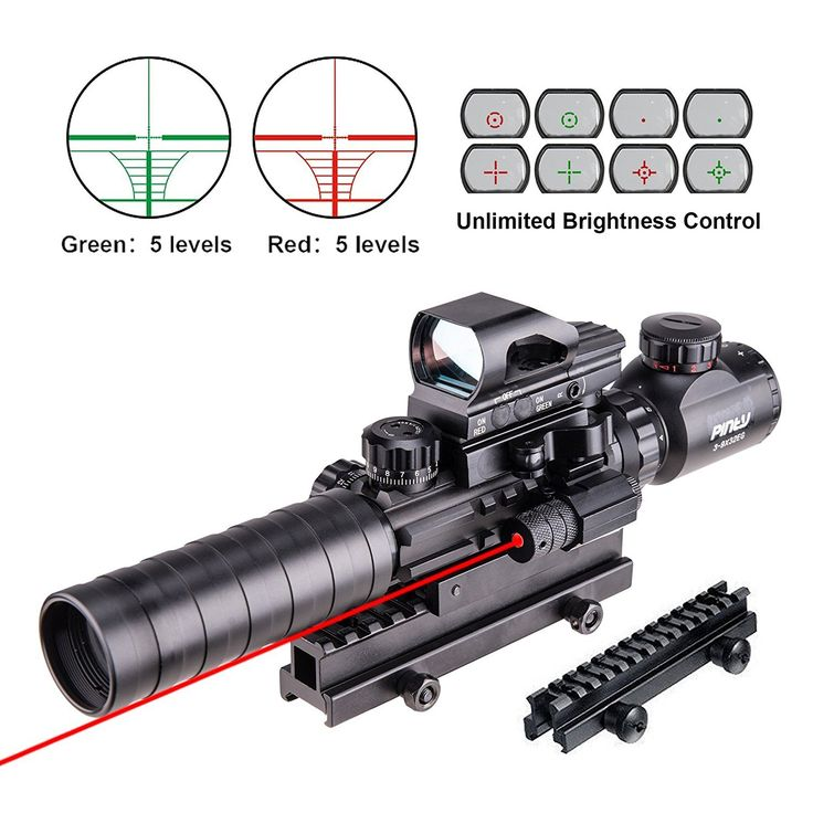 """Pinty 4 in 1 Scope Combo 3-9x32EG Tactical Rangefinder Illuminated Rifle Scope + 4 Reticle Red&Green Reflex Sight Quick Release + Red Dot Laser Sight + 14 Slots 1"""" Compact High Riser"""