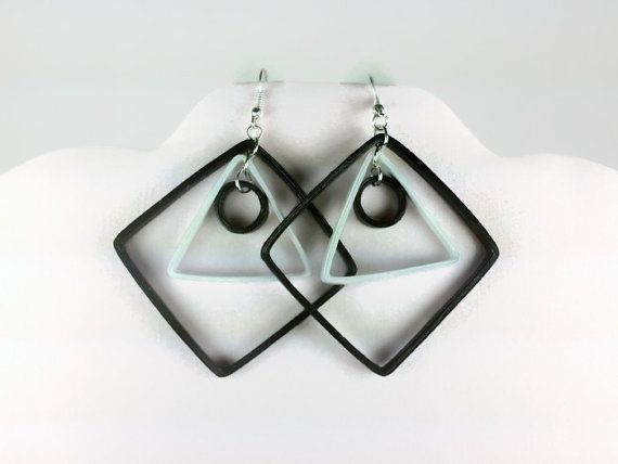 Black and White Geometric Earrings Paper by SweetheartsandCrafts
