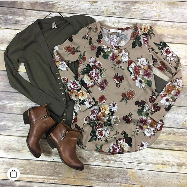 Taupe Floral Top Was $28 Now $19.60 1 available Size Small ➕ Olive Button Cardigan Was $24 $18 1 available Size medium ➡️Shop the photo by clicking the photo, product information will pop