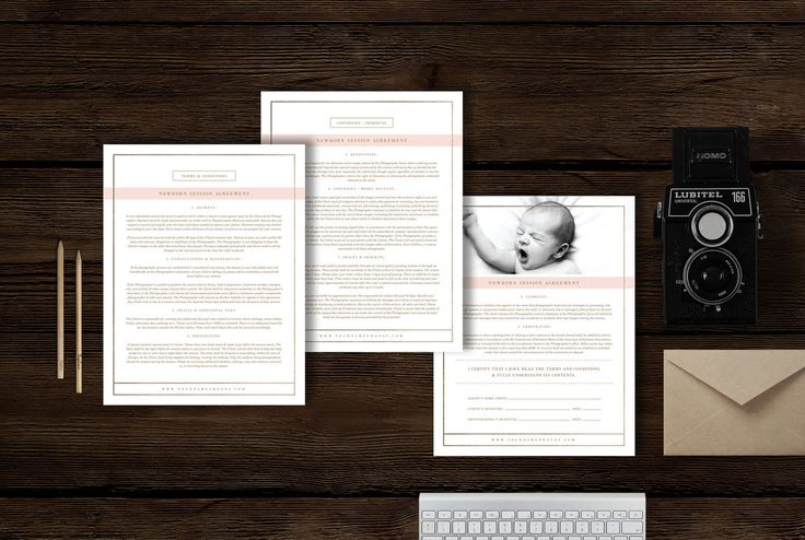 Photographer business forms. Copyright forms and liability agreements. Newborn Photography Contract Template