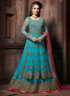 Check out this Adorable Flamboyant Net Turquoise Resham Work Floor Length ‪#‎Anarkali‬ ‪#‎SalwarSuit‬