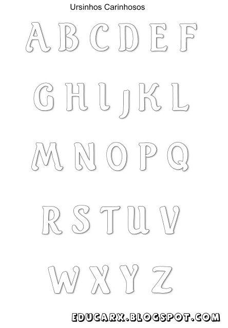Modelo de letras ursinhos carinhosos