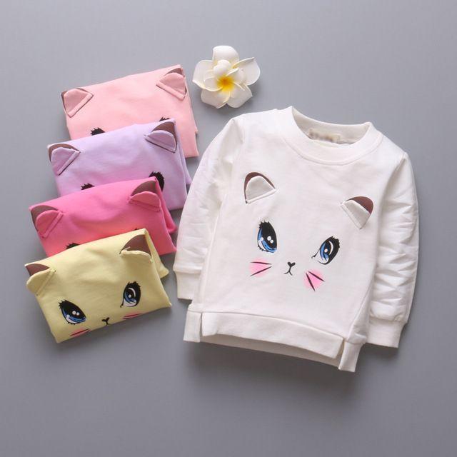 Gato de dibujos animados de impresión de los bebés Camisetas de manga larga nueva primavera niños niño Camisetas niños de la manera tapas para las niñas ropa
