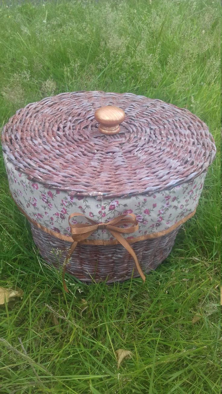 Round, Woven, Lined, Recycled Paper Wicker  Storage Basket by LouisesEclecticCraft on Etsy