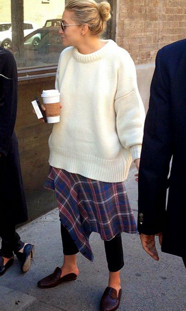 Ashley Olsen. Plaid layers