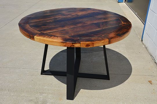 Custom Reclaimed Live Edge Barn Wood Steel Metal Flat Square X Round Dining…