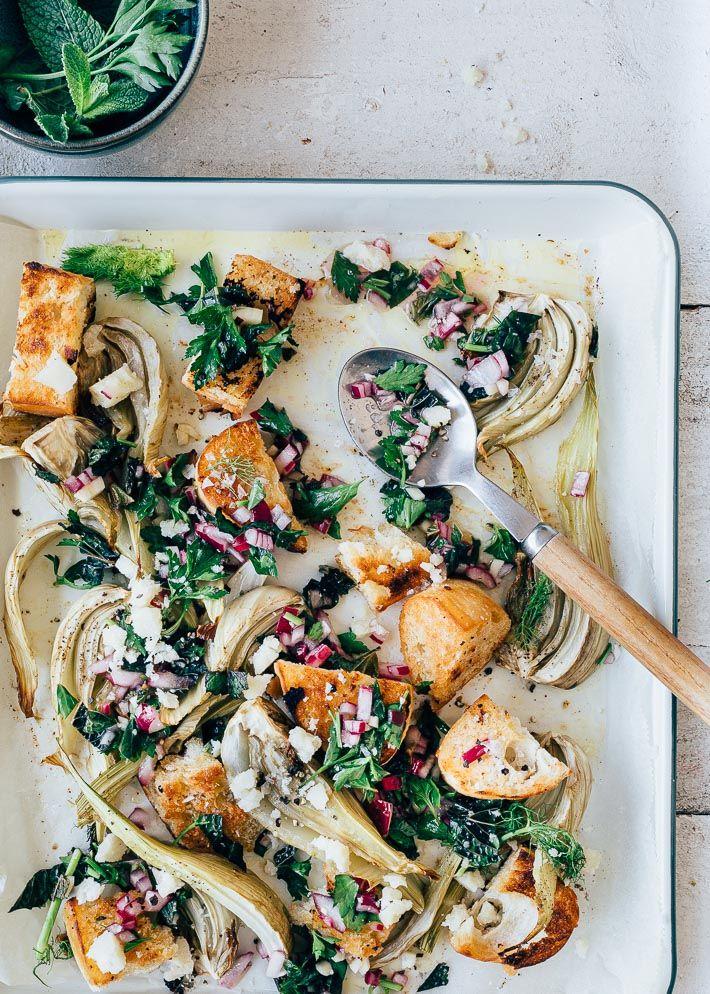 Salade Met Venkel Salsa Verde En Croutons Uit Pauline S Keuken Recept Salsa Verde Venkel Geroosterde Venkel