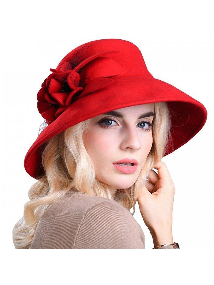 Women's Wide Brim Wool Felt Bowler Hat – Red – CV12MCI8NM1