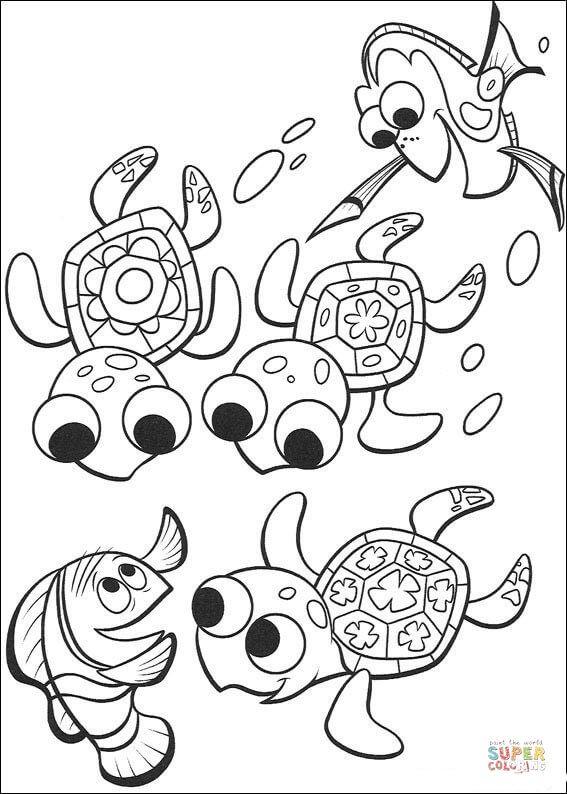 Nemo Dory And Three Cute Turtles Super Coloring Kostenlose Ausmalbilder Ausmalbilder Lustige Malvorlagen