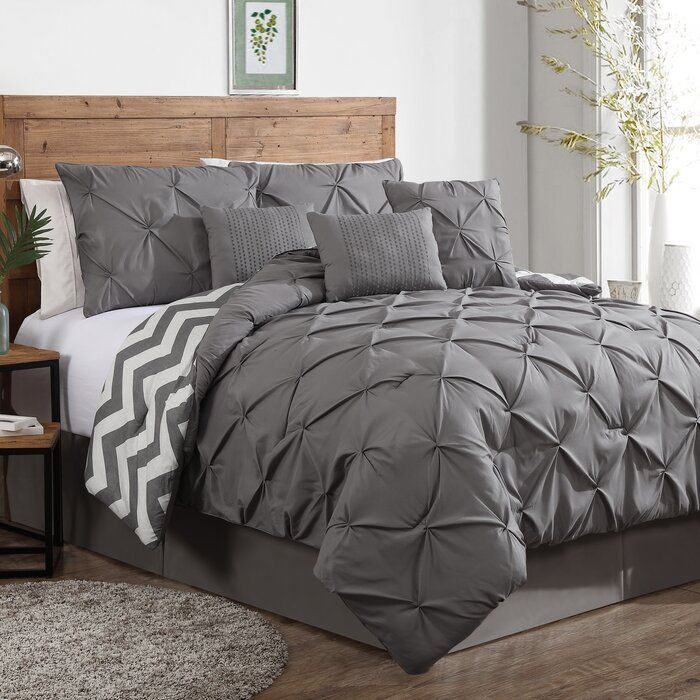 Germain Reversible Comforter Set Bed Comforter Sets Grey