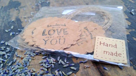 Vintage Style Gift Tags 8pc - 'Hand Made With Love Just for You'
