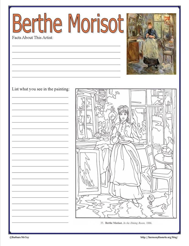 Intimate Impressionism series continues with Berthe Morisot. Simple artist study and follow up printable notebook page.