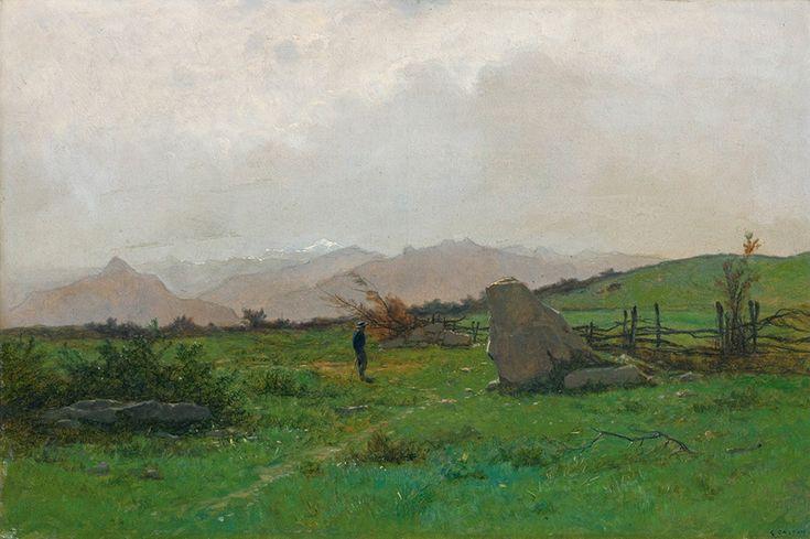 Gustave Castan (1823-1892), Paysage avec Randonneur. Живопись