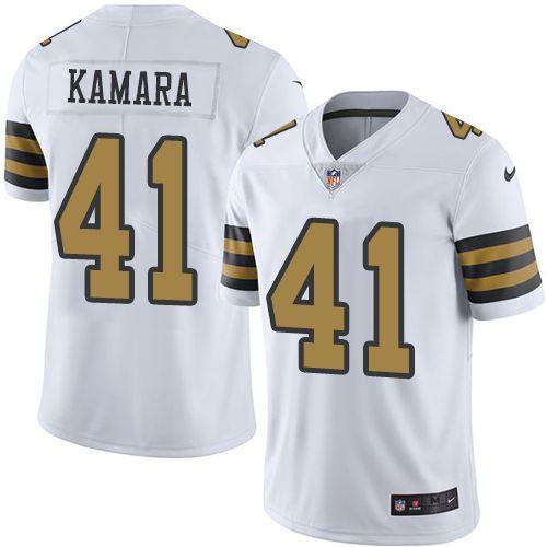 Youth Nike New Orleans Saints #41 Alvin Kamara Limited White Rush NFL Jersey