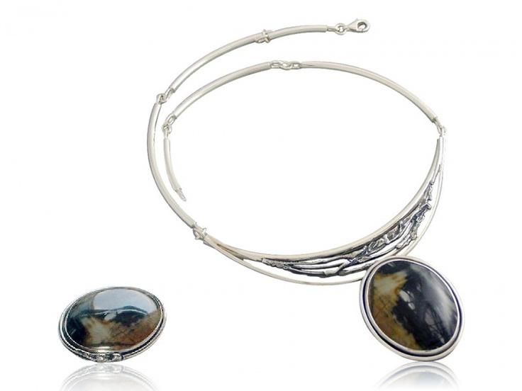 Handmade silver jewellery set with landscape jasper