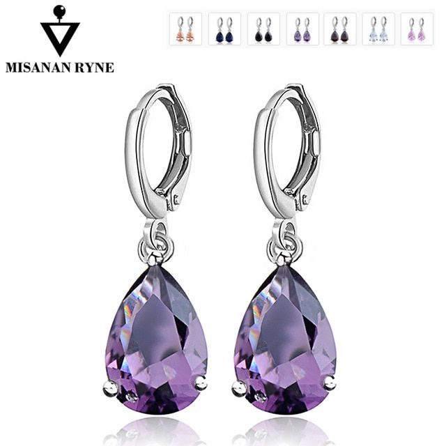 MISANANRYNE Waterdrop CZ Zircon Jewelry Long Silver-Color Dangle Earrings  Brincos Pendiente For Women Gifts 0223eb452dee