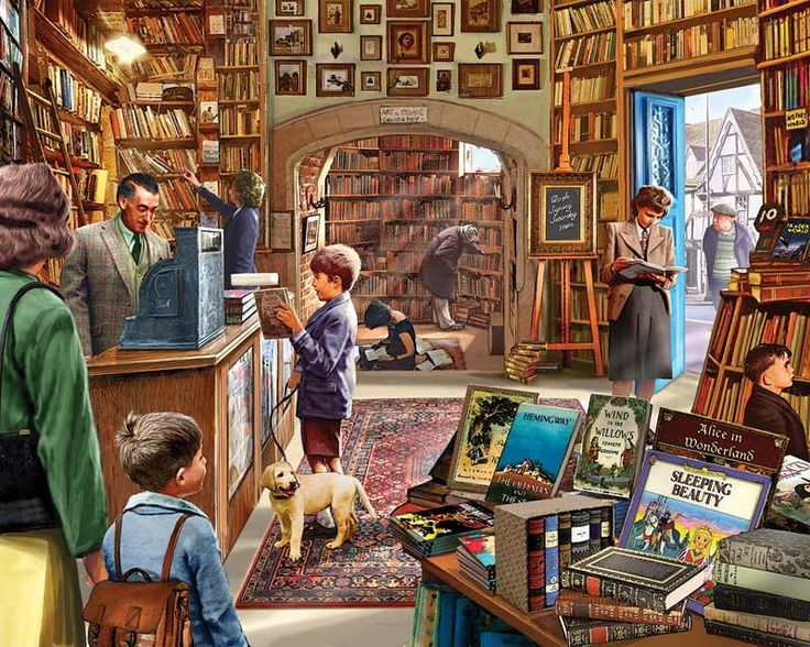 """What better way to spend an afternoon than in a comfortable old bookstore with sagging shelves and good company? Classic titles are piled wherever there's room, and there will be a book signing come Saturday - dogs welcome.1000 piecesFrom White MountainCompleted puzzle measures 24"""" x 30""""Artist: Steve Crisp"""
