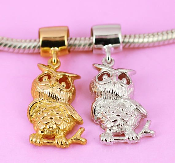 Owl Bird Charm Solid 925 Sterling Silver Rhodium / Vermeil
