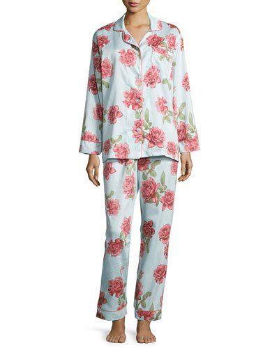 I0SN0 Bedhead Rose-Print Pajama Set, Light Blue, Plus Size