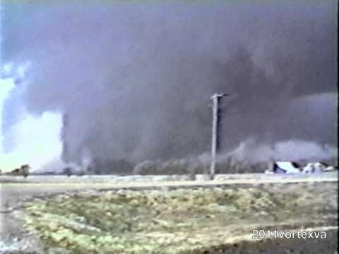 HESSTON & GOESSEL, Kansas, March 13, 1990, F5 tornado family. One of the most fascinating tornadic events occurred during the March 1990 outbreak when a family of tornadoes of various intensities tracked and recycled in the areas of Hesston and Goessel, KS. An F5 grew out of the first set, killed several and swept away homes in Hesston and as that tornado died a new one popped up nearby and the two merged and became another F5 that destroyed Goessel. Video shows this phenomenon. (KevinR@Ky)