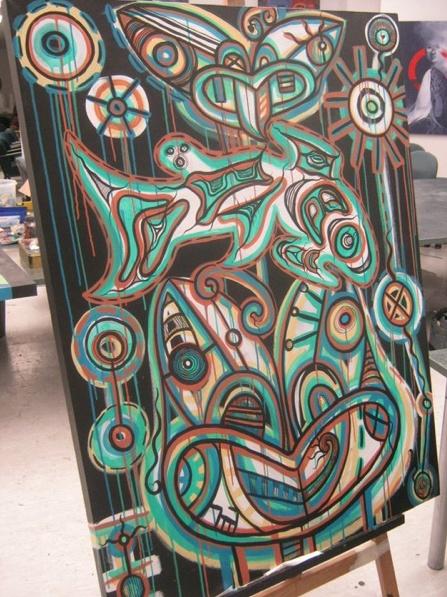 My Matariki salmon painting! Fusing maori and Salish art! xox