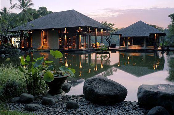 Tropical hut, Bali. Balinese. Thai. Thailand. Jungle hut. Bale. Sala. Guest house. Outdoor room.: