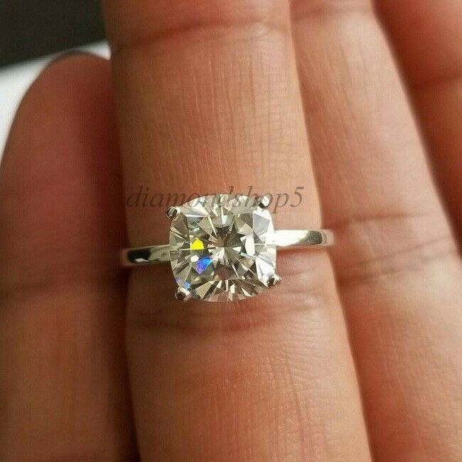 4Ct Round Cut Moissanite Diamond Solitaire Engagement Ring 925 Sterling Silver