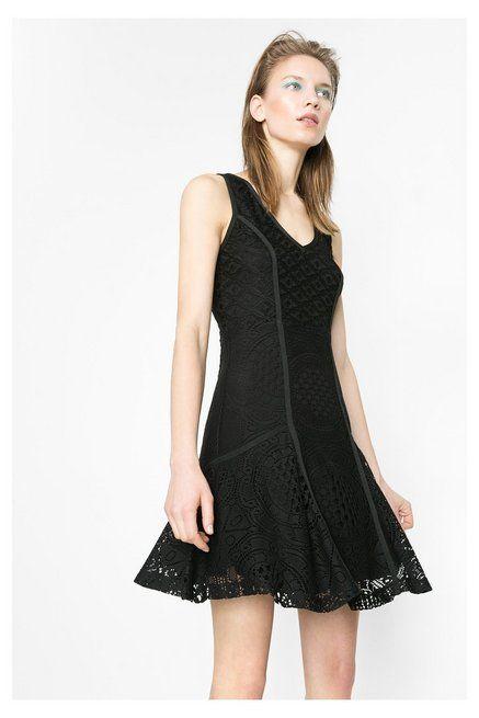 Schwarzes Kleid mit Spitze | Desigual.com | Kleid schwarz ...