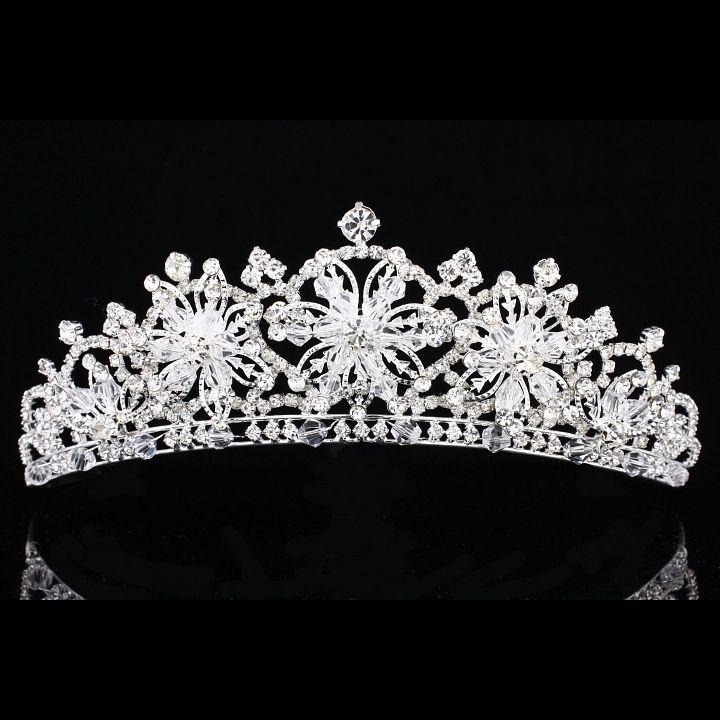 Snowflake Floral Bridal Headpiece Rhinestone Crystal Prom Wedding Tiara V914