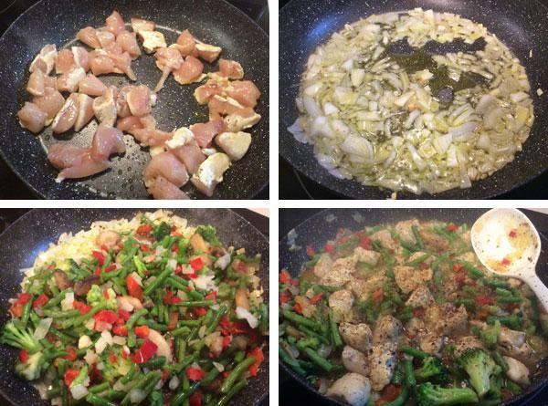 Esta sencilla receta de salteado de pollo te sirve para preparar tiras de lomo de cerdo o de ternera, salchichas o cualquier otra carne que te guste.