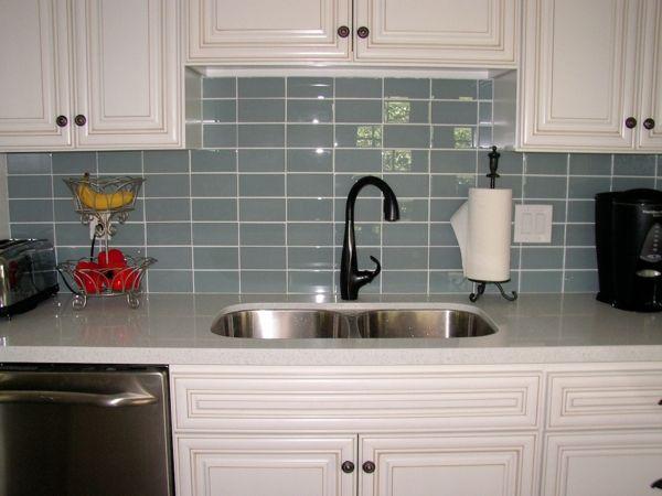 Wandfliesen Küche Fliesenspiegel Rückwand Küche Blau Grau