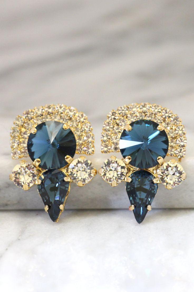 Blue Navy Earrings,statement Earrings,swarovski Dark Blue Earrings,blue  Navy Jewelry,bridal Earrings,big Crystal Earrings,crystal Earrings