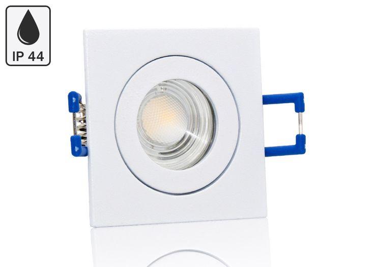 Feuchtraum LED Einbaustrahler Set IP44 MR11 35mm Druckguss weiß eckig mit Marken LED Spot Bioledex Helso 4 Watt 12V