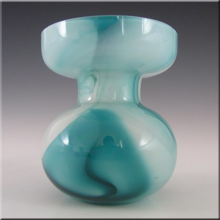Carlo Moretti Marbled Turquoise & White Murano Glass Vase - £40.00