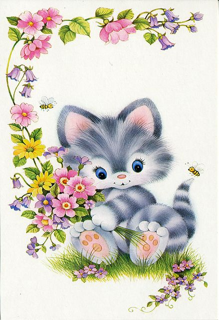 Kitten with a bunch of flowers by Joybot, via Flickr