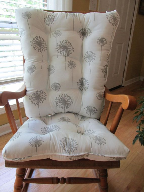 Tufted Rocking Chair Cushions/ Pads in Grey Dandelion,Also in Yellow, Turquoise, and Black, Patio, porch, nursery or baby room