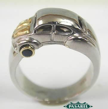 Too cool for words... for those punch buggy fans among us... a ring designed in the shape of a VW bug!